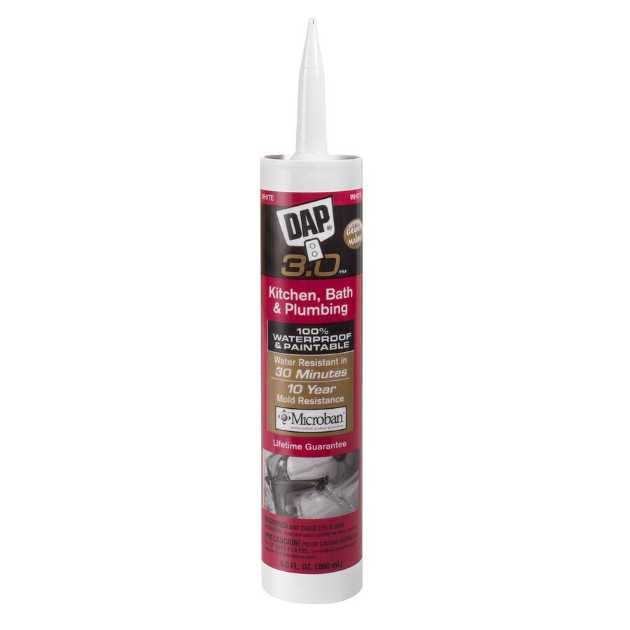 DAP 3.0 Series 9-oz White Paintable Tub and Tile Silicon Kitchen and Bathroom Caulk