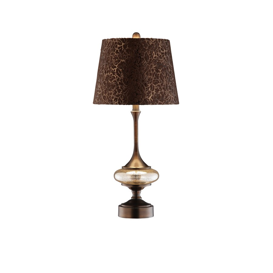 26.5-in Dark Red Bronze Touch On/Off Indoor Table Lamp with Fabric Shade