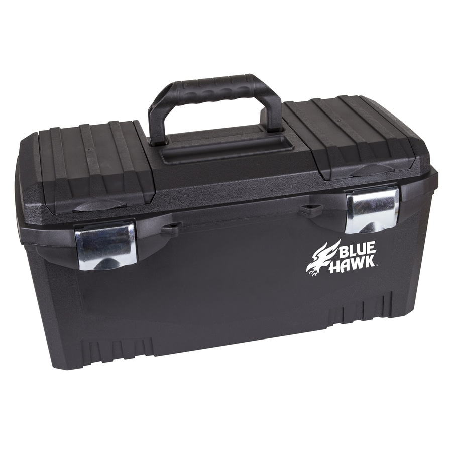 Shop Blue Hawk 20 In Black Plastic Lockable Tool Box At