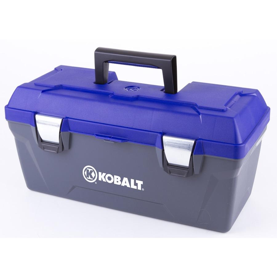 Kobalt 19-in Blue Plastic Lockable Tool Box