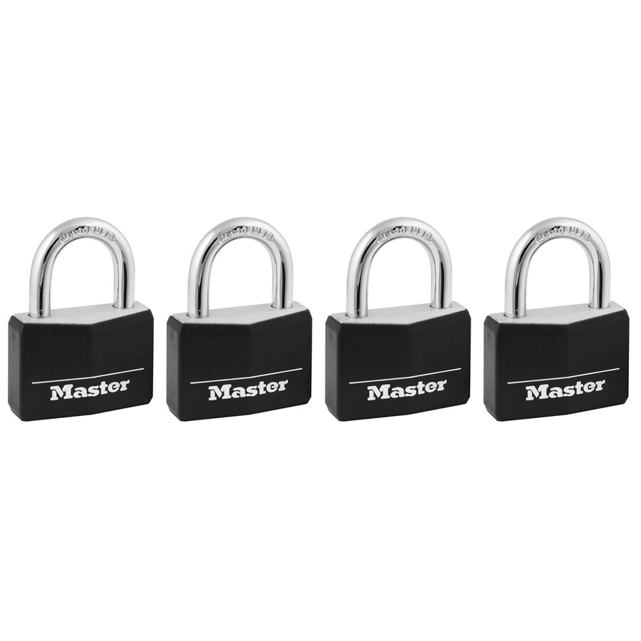 Master Lock 4-Pack 1.78-in Black Vinyl Aluminum Shackle Keyed Padlocks