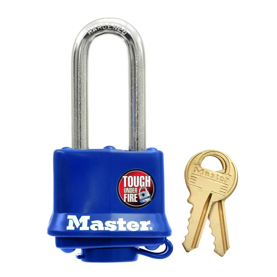Master Lock 2-in Blue Steel Shackle Keyed Padlock