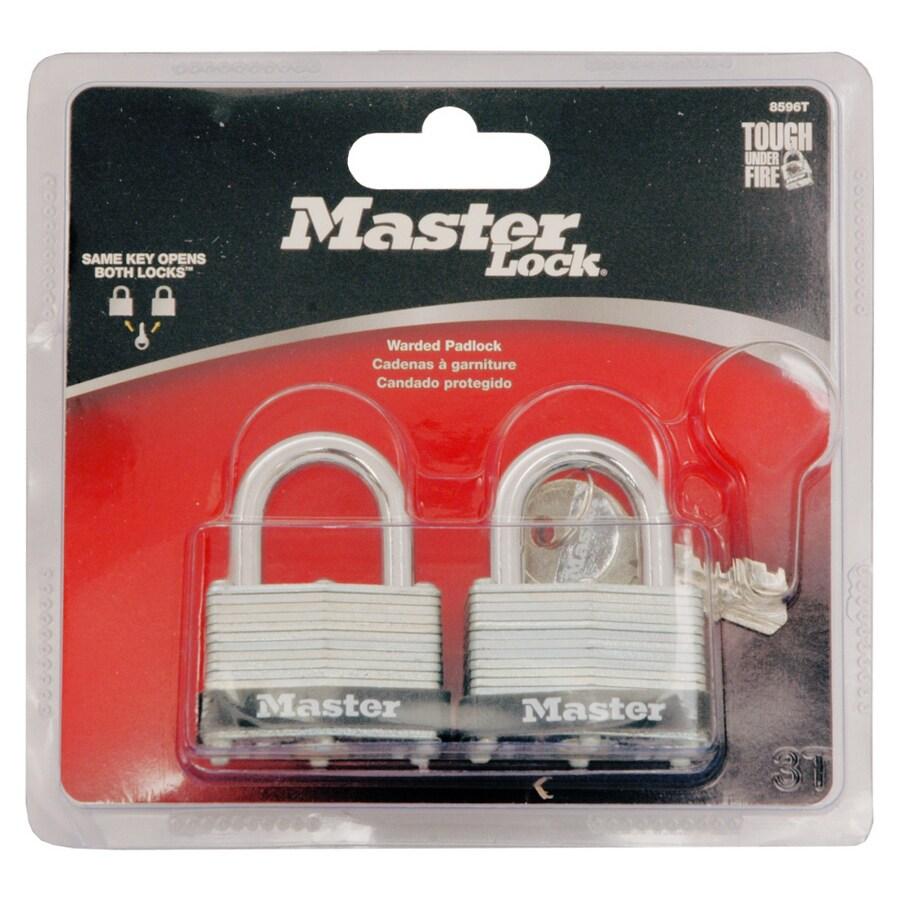 Master Lock 2-Pack 1.701-in Silver with Black Bumper Steel Shackle Keyed Padlocks
