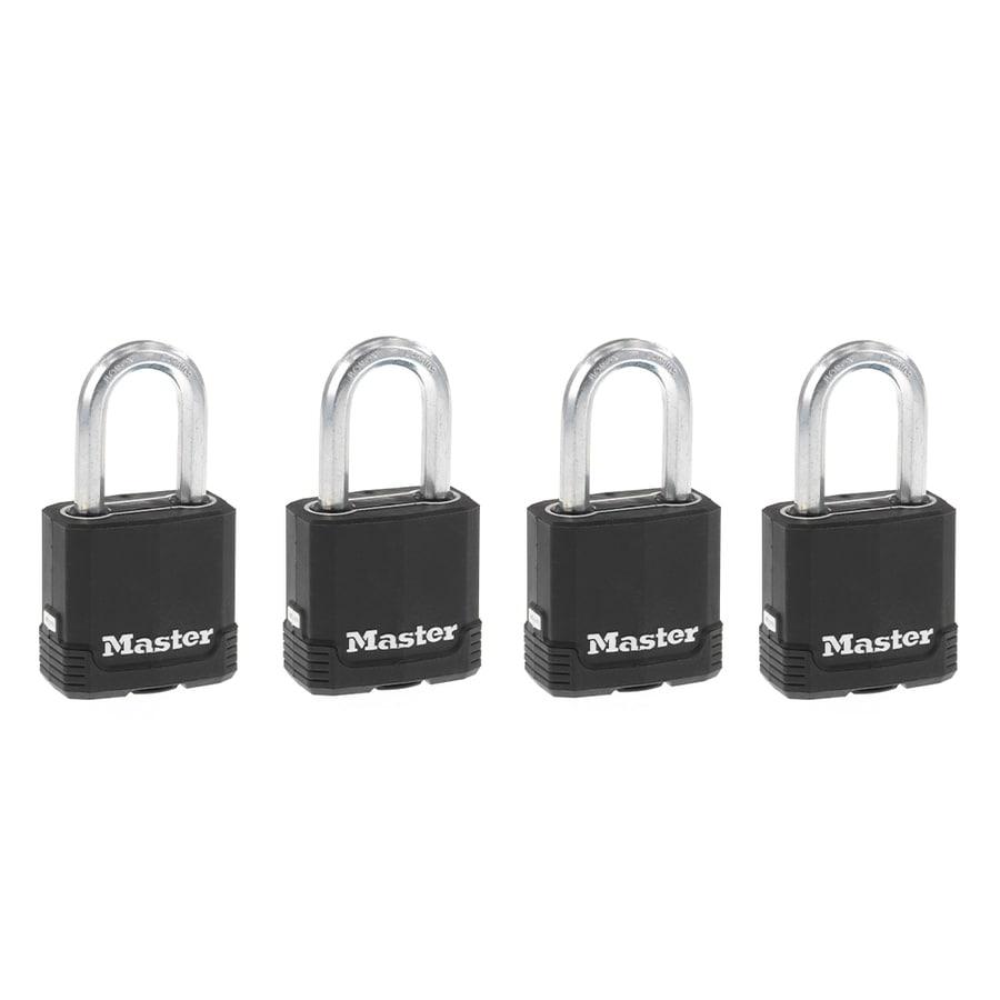 Master Lock 4-Pack 1.93-in Steel Shackle Keyed Padlocks