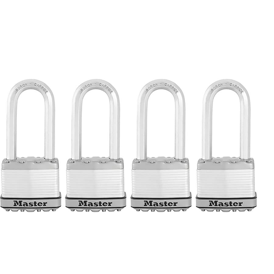 Master Lock 4-Pack 2.058-in Silver Steel Shackle Keyed Padlocks