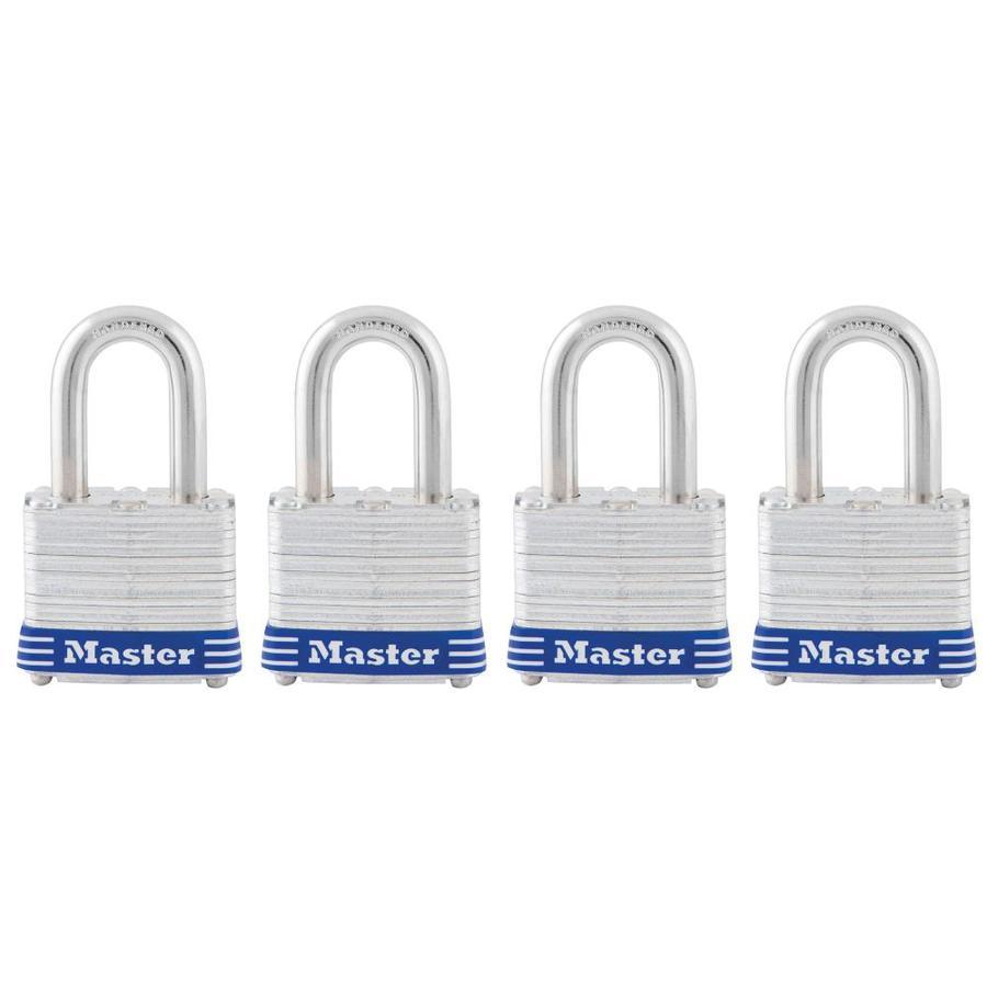 Master Lock 4-Pack 1.642-in Silver with Blue Bumper Steel Shackle Keyed Padlocks