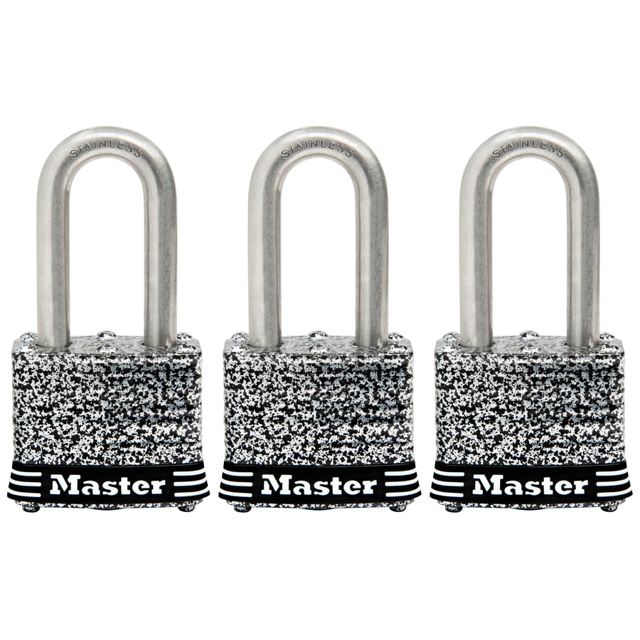 Master Lock 3-Pack 1.642-in Laminated Stainless Steel Shackle Keyed Padlocks