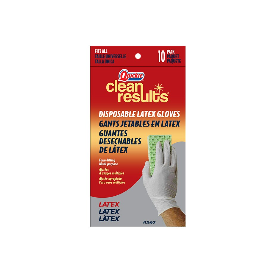 Quickie - Clean Results 10-Pack One-Size-Fits-All Latex Cleaning Gloves