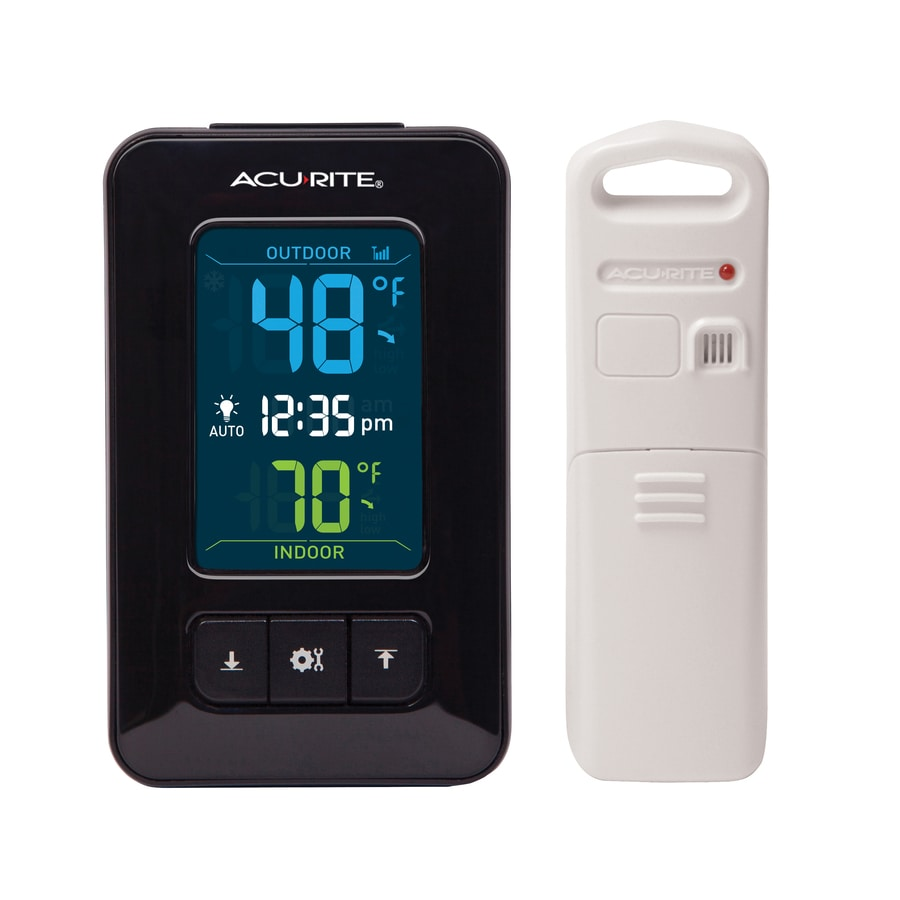 Shop acurite digital wireless indoor outdoor black thermometer with clock at - Thermometre connecte wifi ...