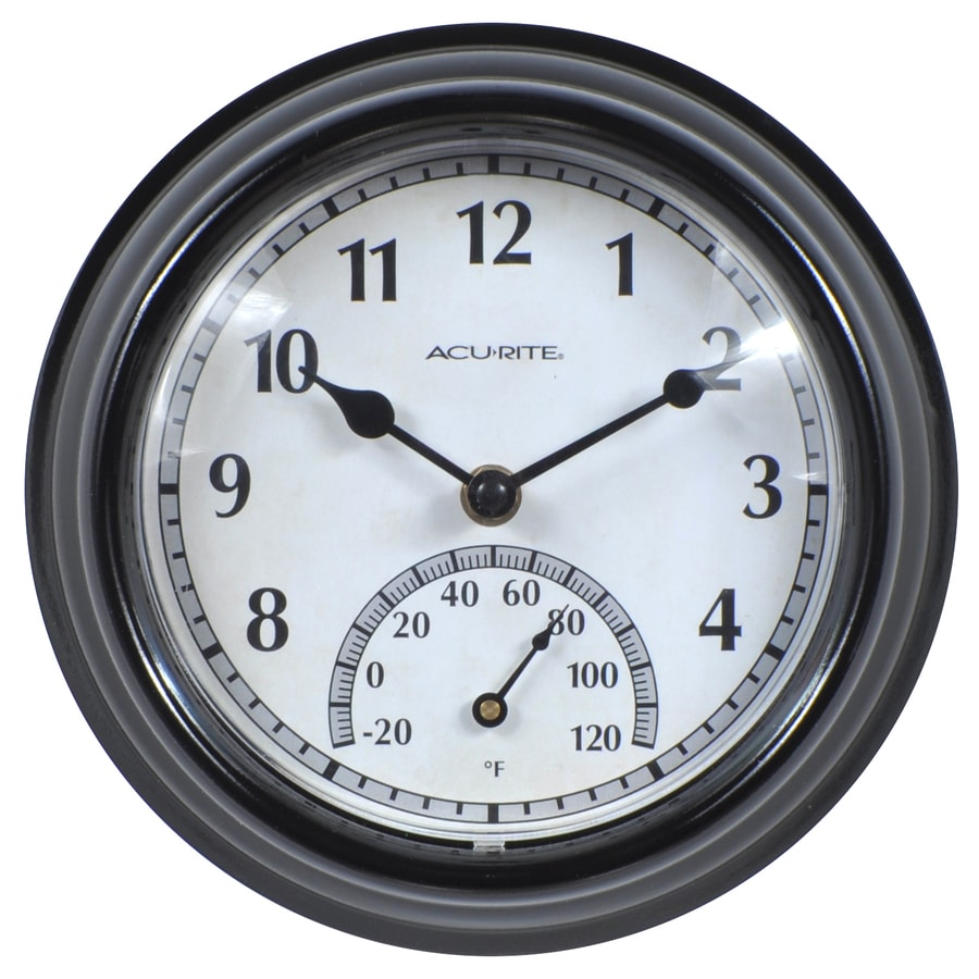 AcuRite Indoor/Outdoor Black Traditional Thermometer with Clock