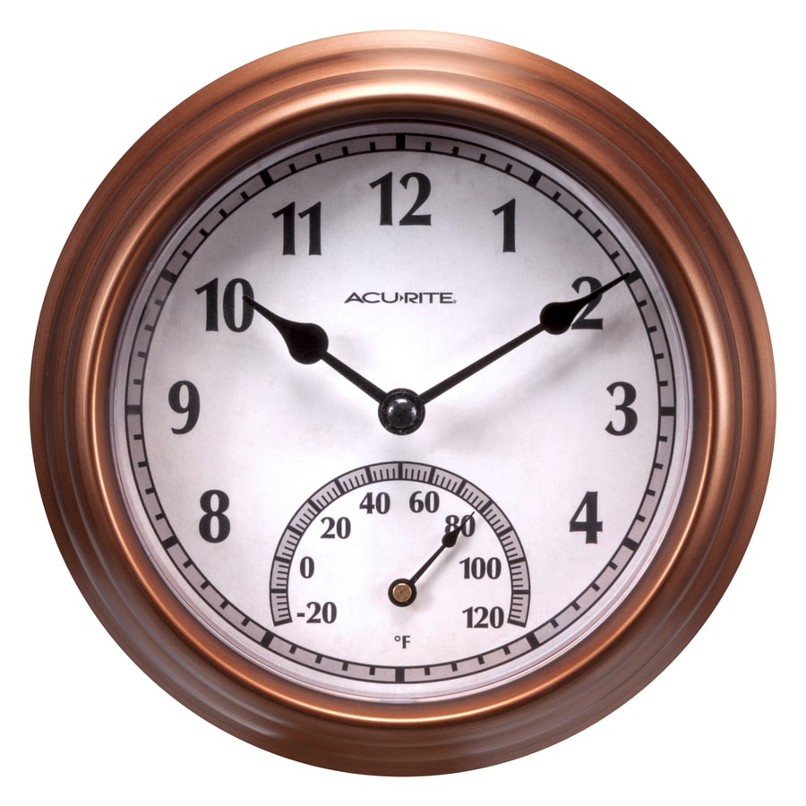 Shop Acurite Indoor Outdoor Bronze Thermometer With Clock At