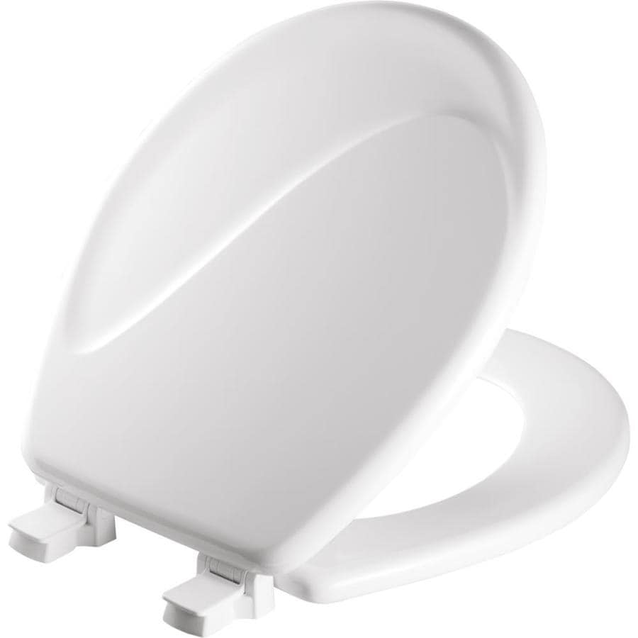 Mayfair Sculptured Wave Lift-Off White Wood Round Toilet Seat