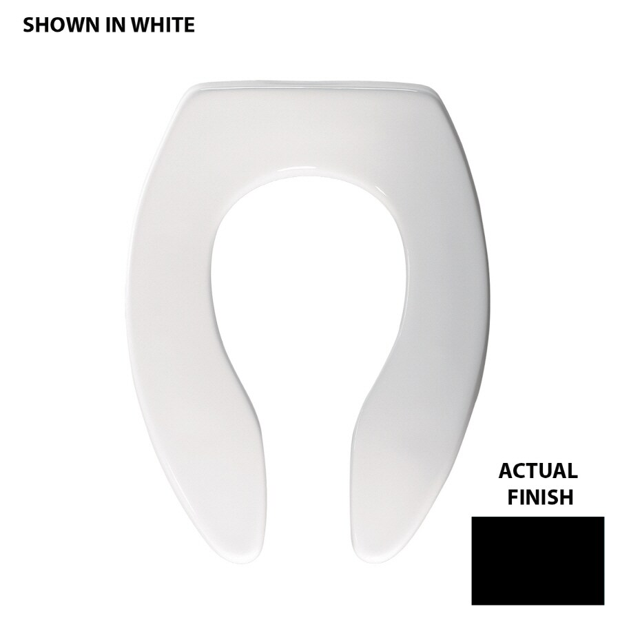 Shop Bemis Commercial Black Plastic Elongated Toilet Seat At