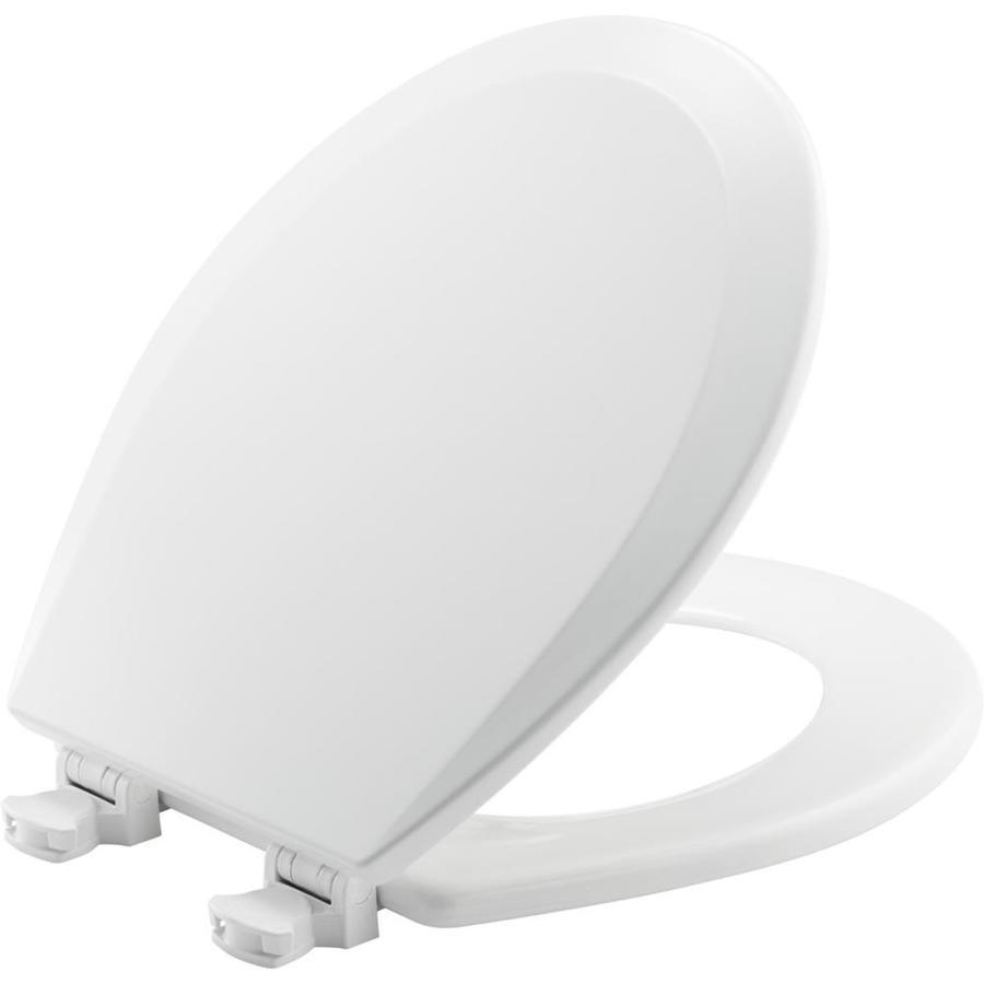 Shop Bemis Lift Off White Wood Round Toilet Seat At