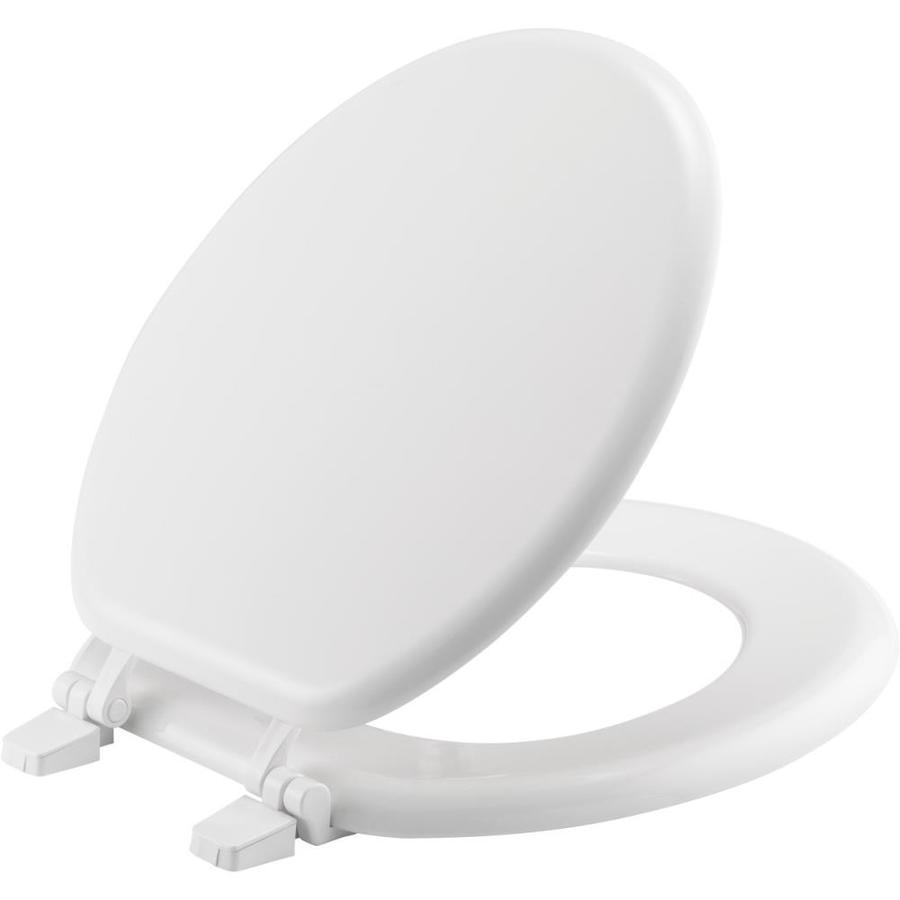 Shop Bemis White Wood Round Toilet Seat At