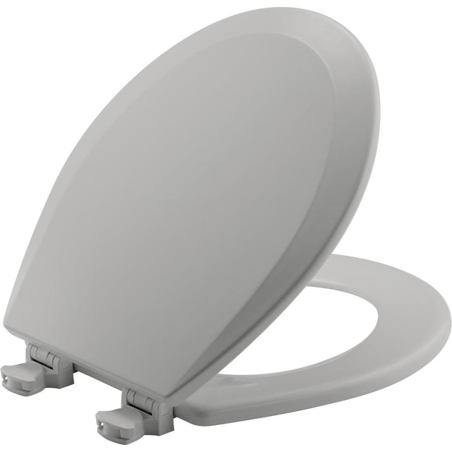 Bemis Lift-Off Silver Wood Round Toilet Seat