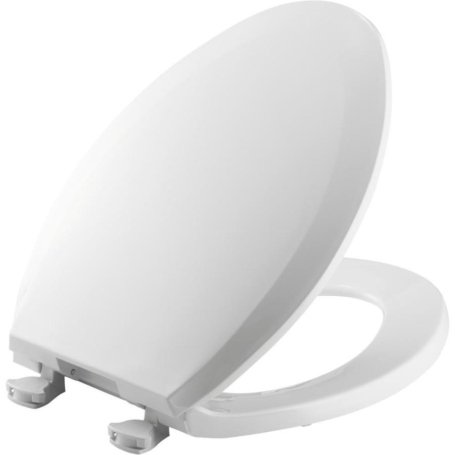 Shop Bemis Lift Off White Plastic Elongated Toilet Seat At