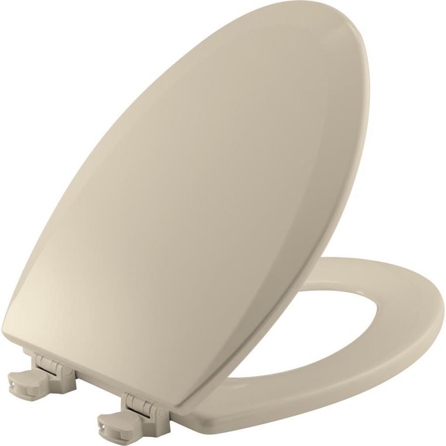 Bemis Lift-Off Almond Wood Elongated Toilet Seat