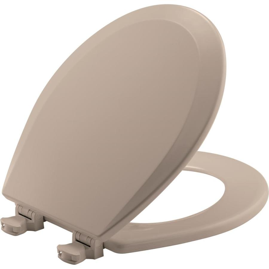 Church Lift-Off Fawn Beige Wood Round Toilet Seat