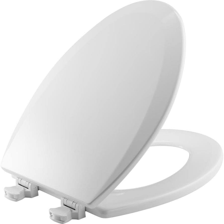 Bemis Lift-Off Cotton White Wood Elongated Toilet Seat