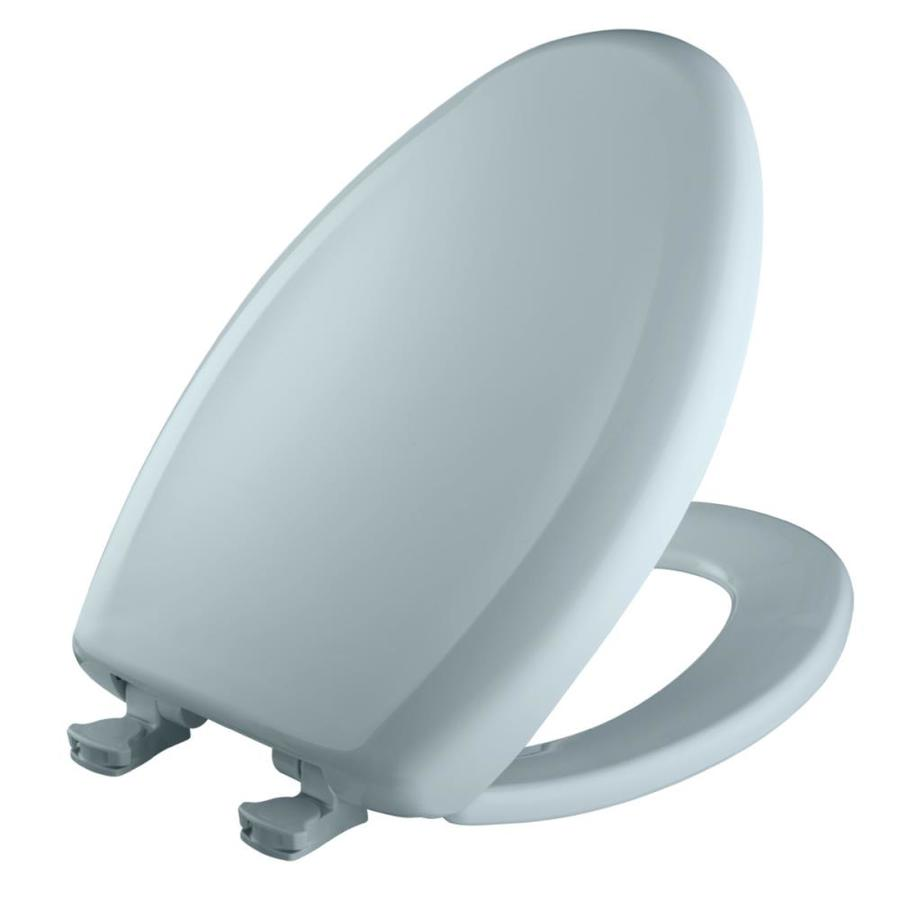off heron blue plastic elongated slow close toilet seat at