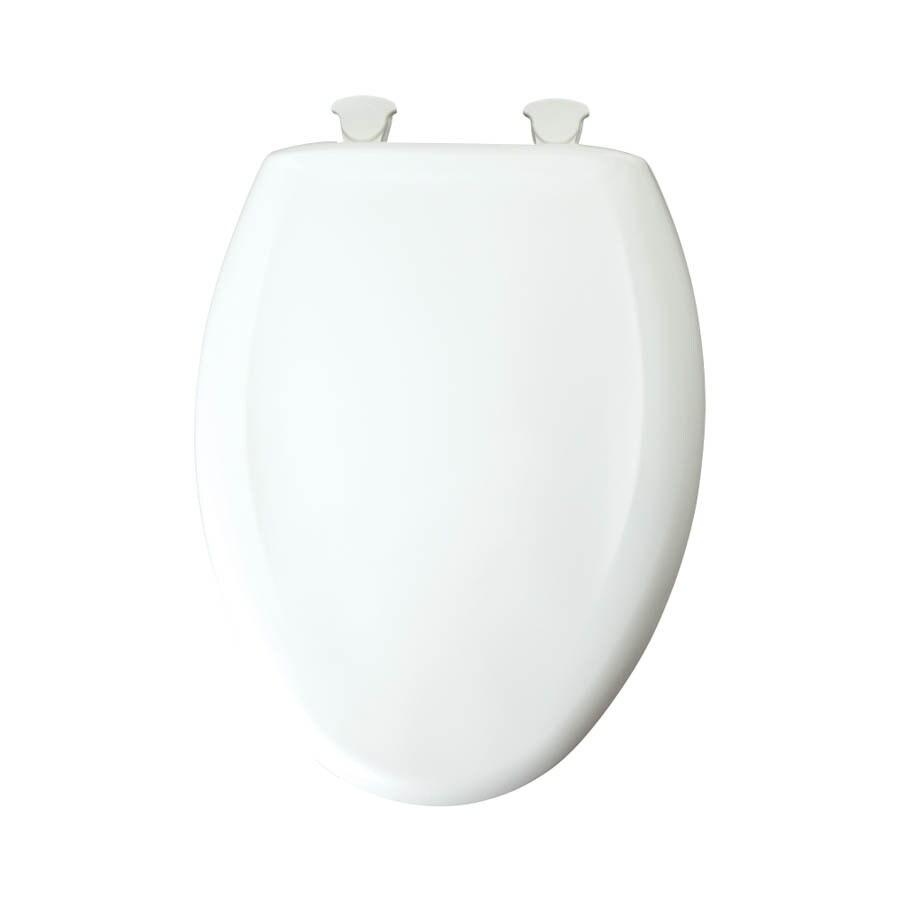 Bemis Lift-Off Cotton White Plastic Elongated Slow Close Toilet Seat