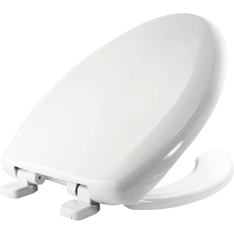 Bemis White Plastic Elongated Toilet Seat