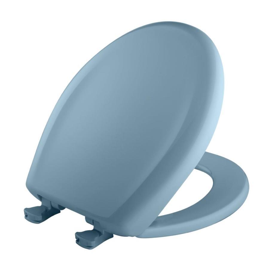 Bemis Lift-Off New Orleans Blue Plastic Round Slow Close Toilet Seat