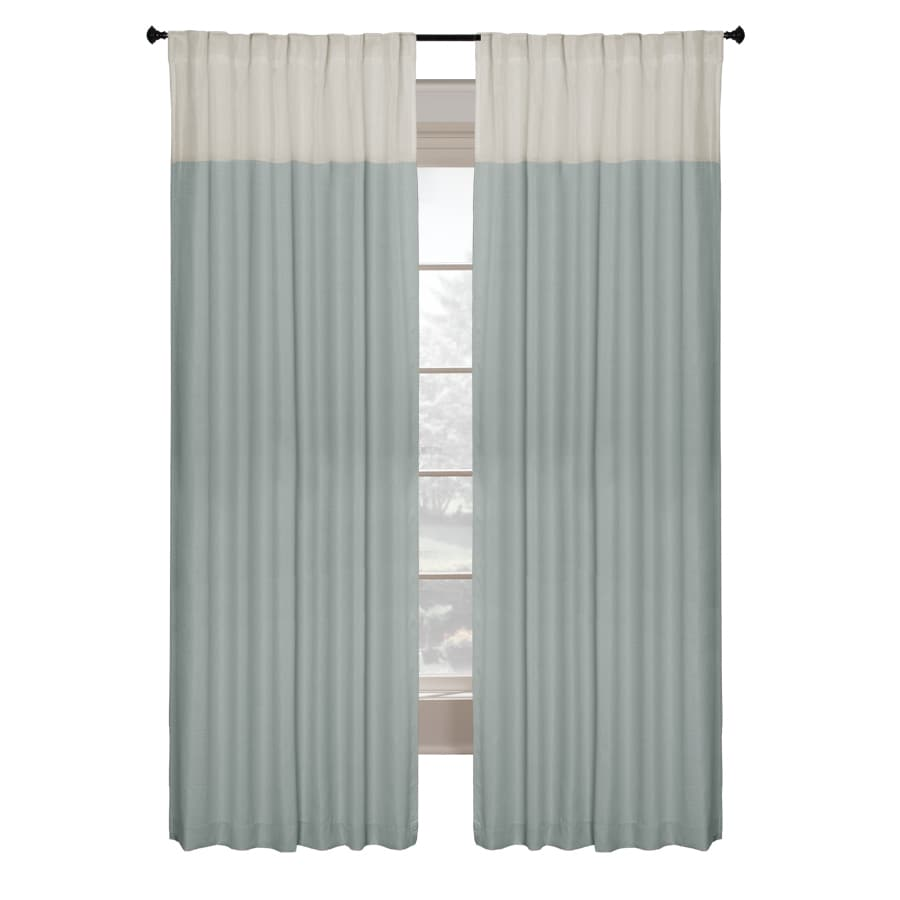allen + roth Project Trio 108-in L Solid Blue Back Tab Curtain Panel