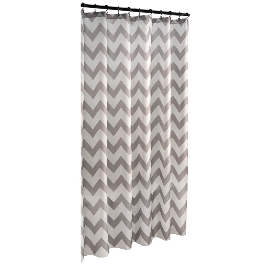 Shop allen + roth Polyester Grey Geometric Shower Curtain at Lowes.com