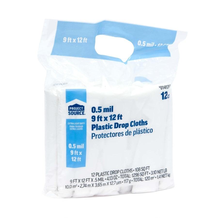 12-Pack Plastic Drop Cloths (Common: 9-ft x 12-ft; Actual 9-ft x 12-ft)