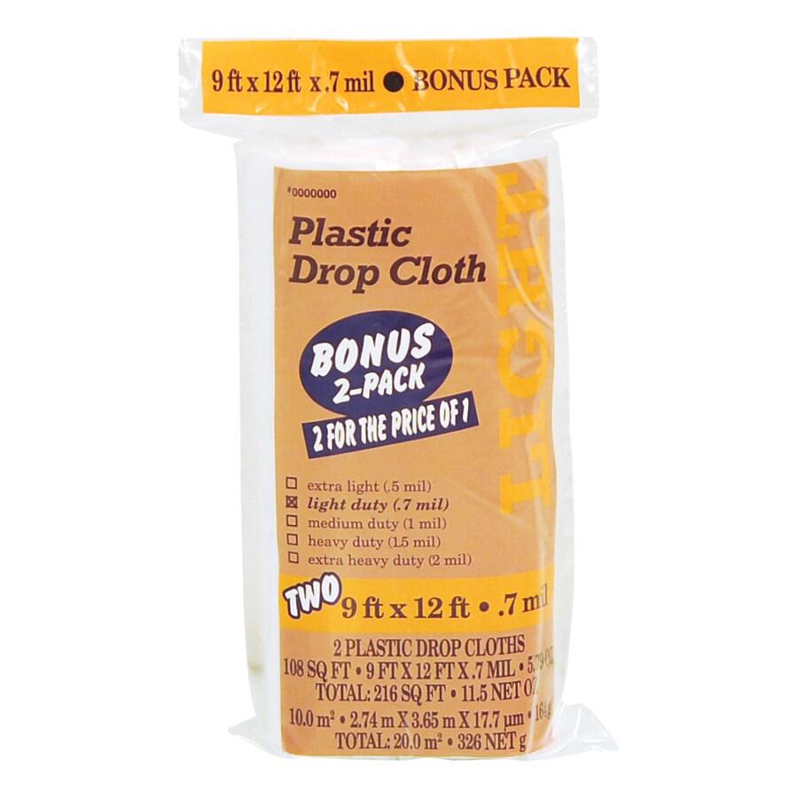 2-Pack Plastic Drop Cloths (Common: 9-ft x 12-ft; Actual 9-ft x 12-ft)