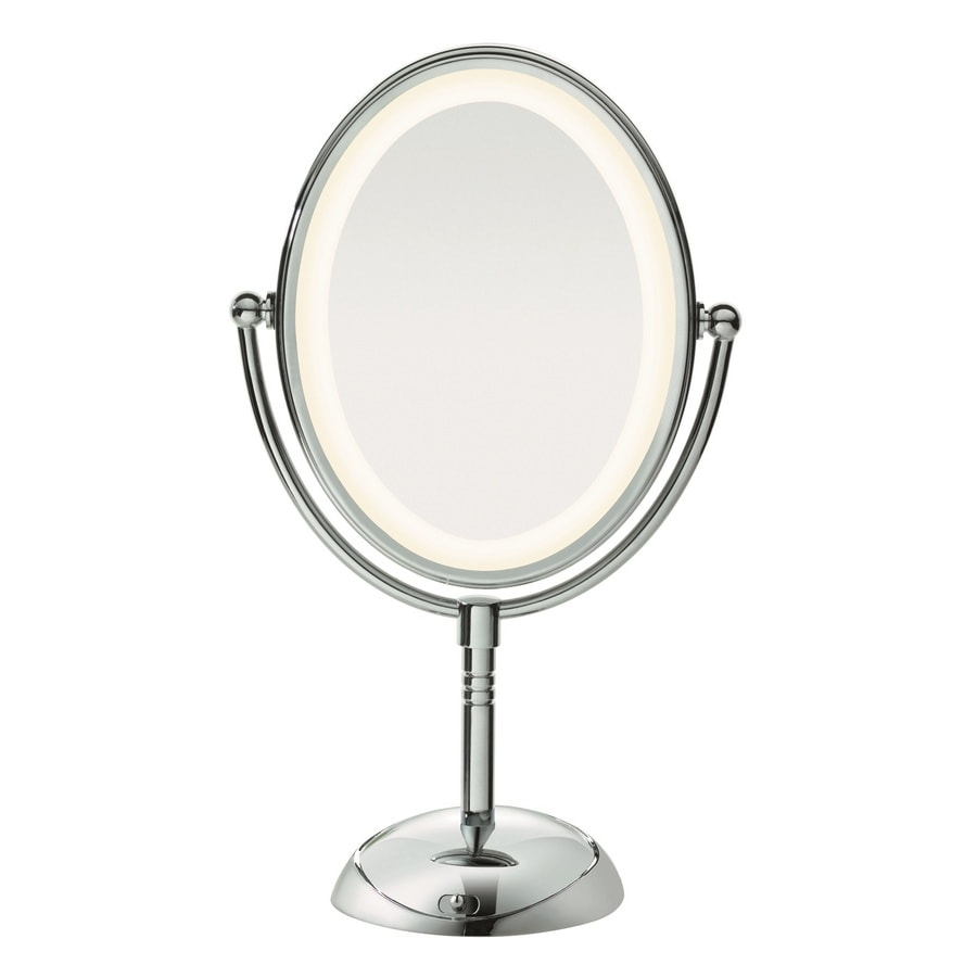 Lighted Vanity Mirror Conair : Shop Conair Chrome Magnifying Countertop Vanity Mirror with Light at Lowes.com