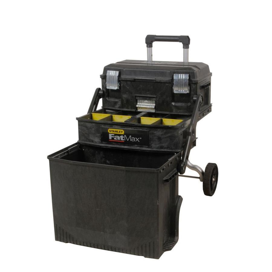 Stanley 22-in 3-Drawer Black Plastic Lockable Wheeled Tool Box