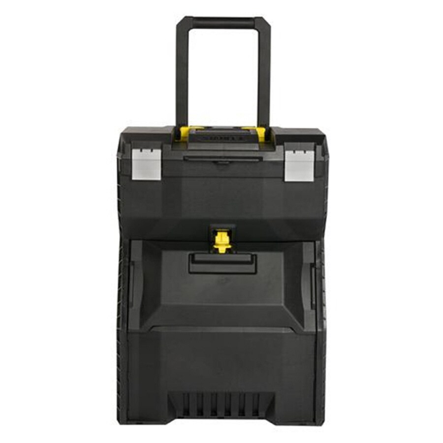 Stanley 16.7-in Black Plastic Lockable Wheeled Tool Box