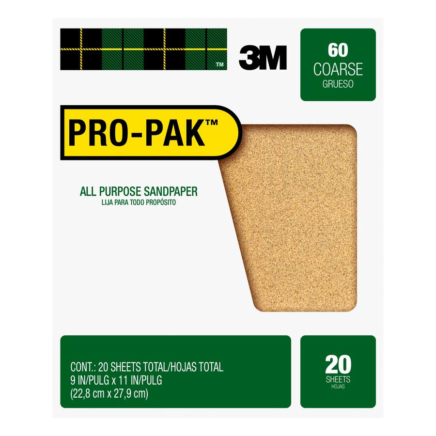 3M 20-Pack 9-in W x 11-in L 60-Grit Commercial Sandpaper Sheets