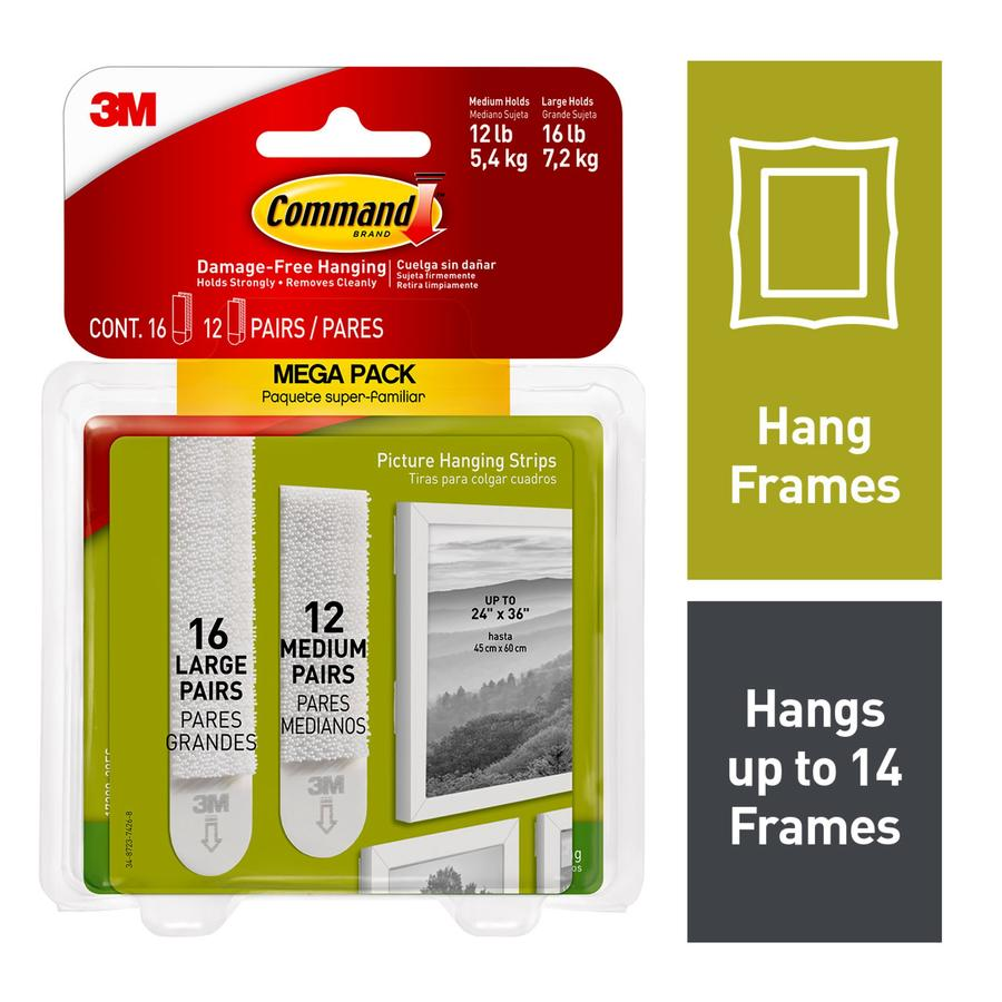 3M Command Brand Picture Hanging Strips Medium Size Pack of 4 Damage Free