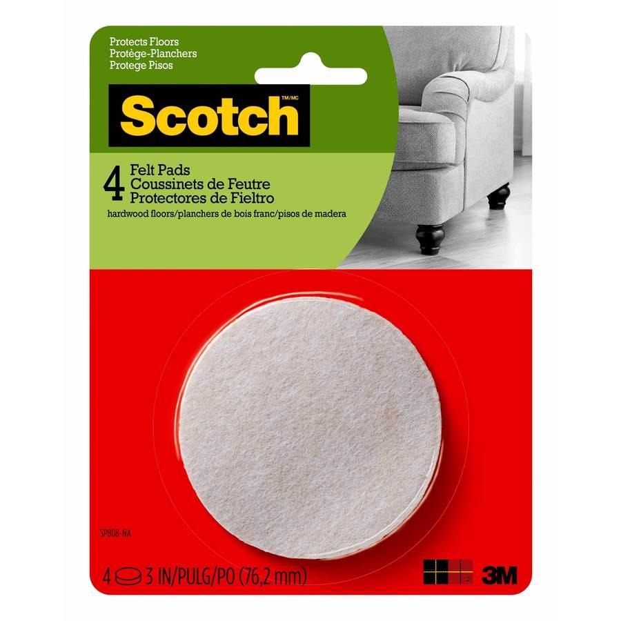 Scotch 4-Pack 3-in Beige Round Felt Pads