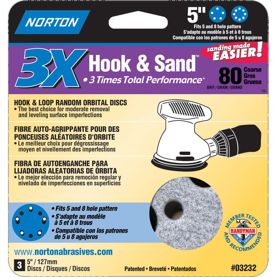 Norton 3-Pack W x L 80-Grit Commercial Disc Sandpaper
