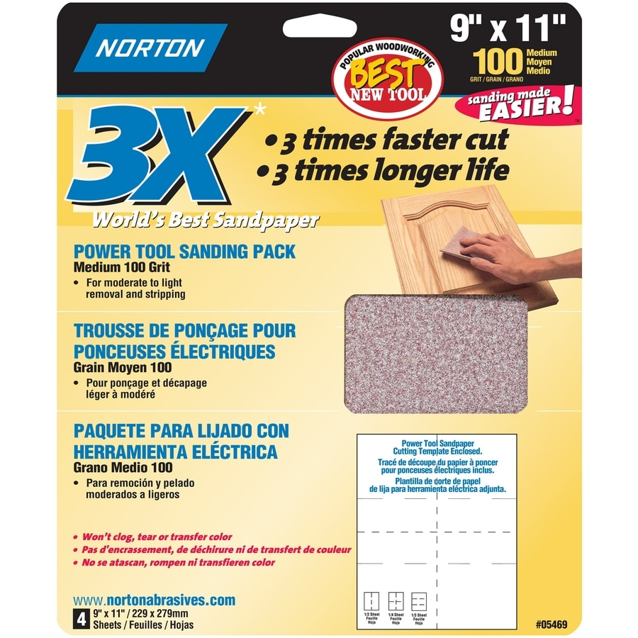 Norton 4-Pack 9.7-in W x 11.7-in L 100-Grit Commercial Sandpaper Sheets