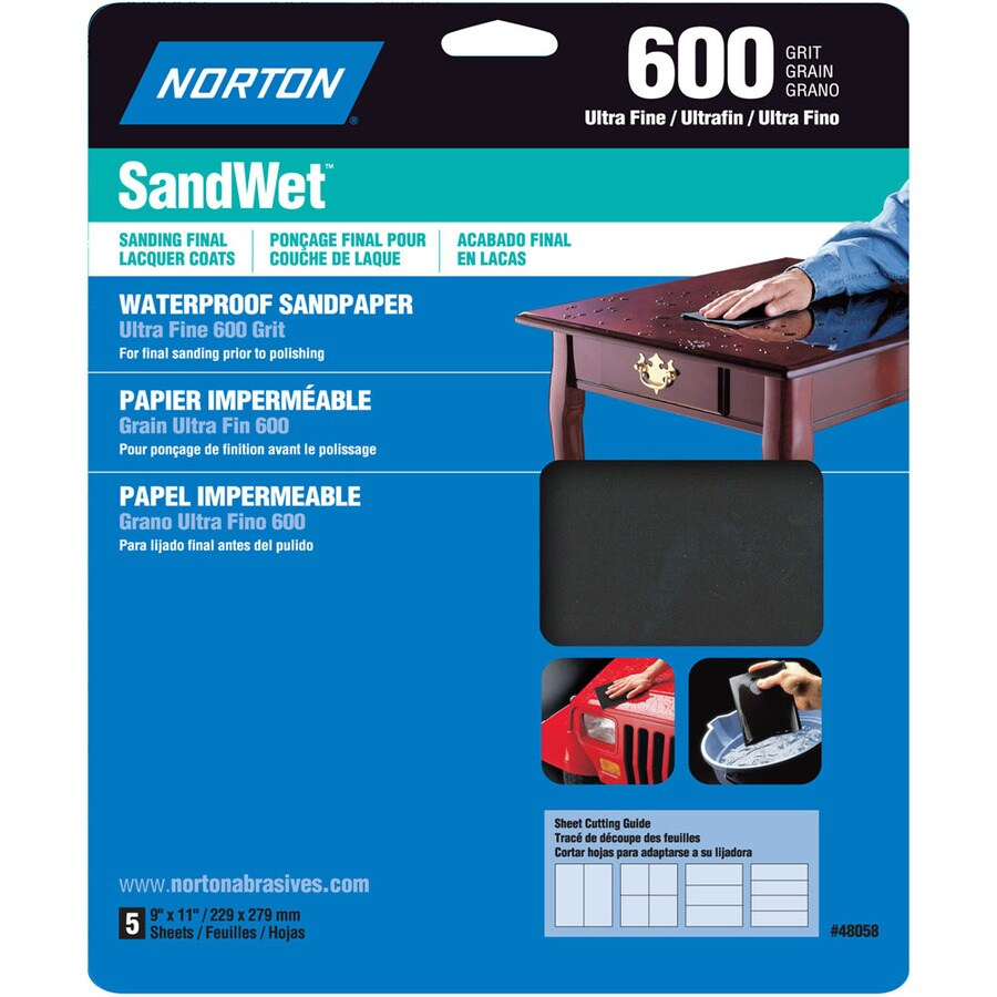 Norton 5-Pack 9.7-in W x 11.7-in L 600-Grit Commercial Sandpaper Sheets