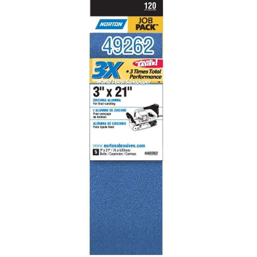 Norton 5-Pack W x L 120-Grit Commercial Belt Sandpaper