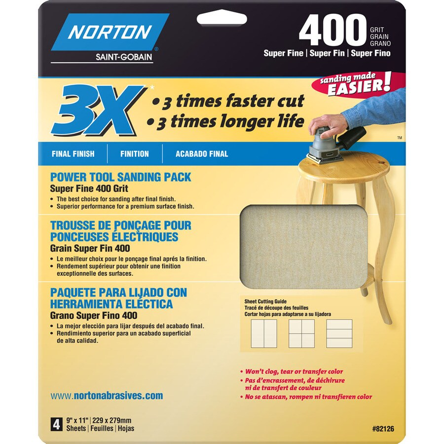Norton 4-Pack 9.7-in W x 11.8-in L 400-Grit Commercial Sandpaper Sheets