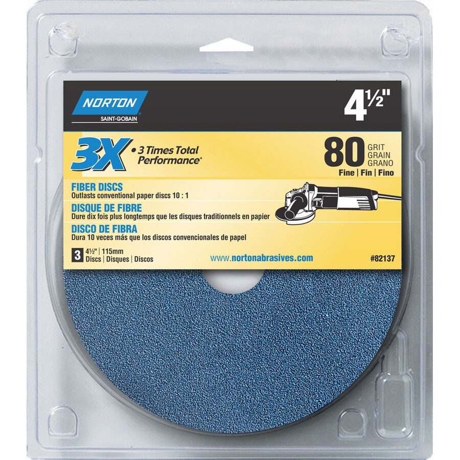 Norton 3-Pack 5.25-in W x 6-in L 80-Grit Commercial Disc Sandpaper