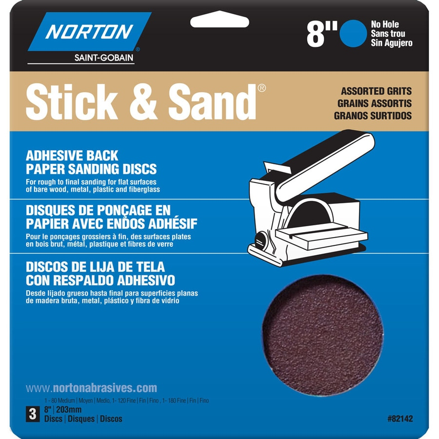 Norton 3-Pack 8.75-in W x 10-in L Multi-Grade Pack Commercial Disc Sandpaper