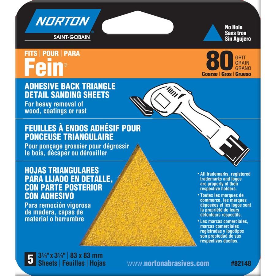 Norton 5-Pack W x L 80-Grit Commercial Detail Sandpaper Sheets