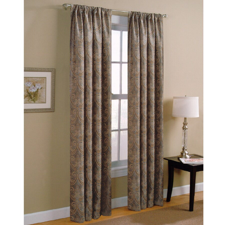 Style Selections Raja 84-in Steel Polyester Rod Pocket Light Filtering Standard Lined Single Curtain Panel