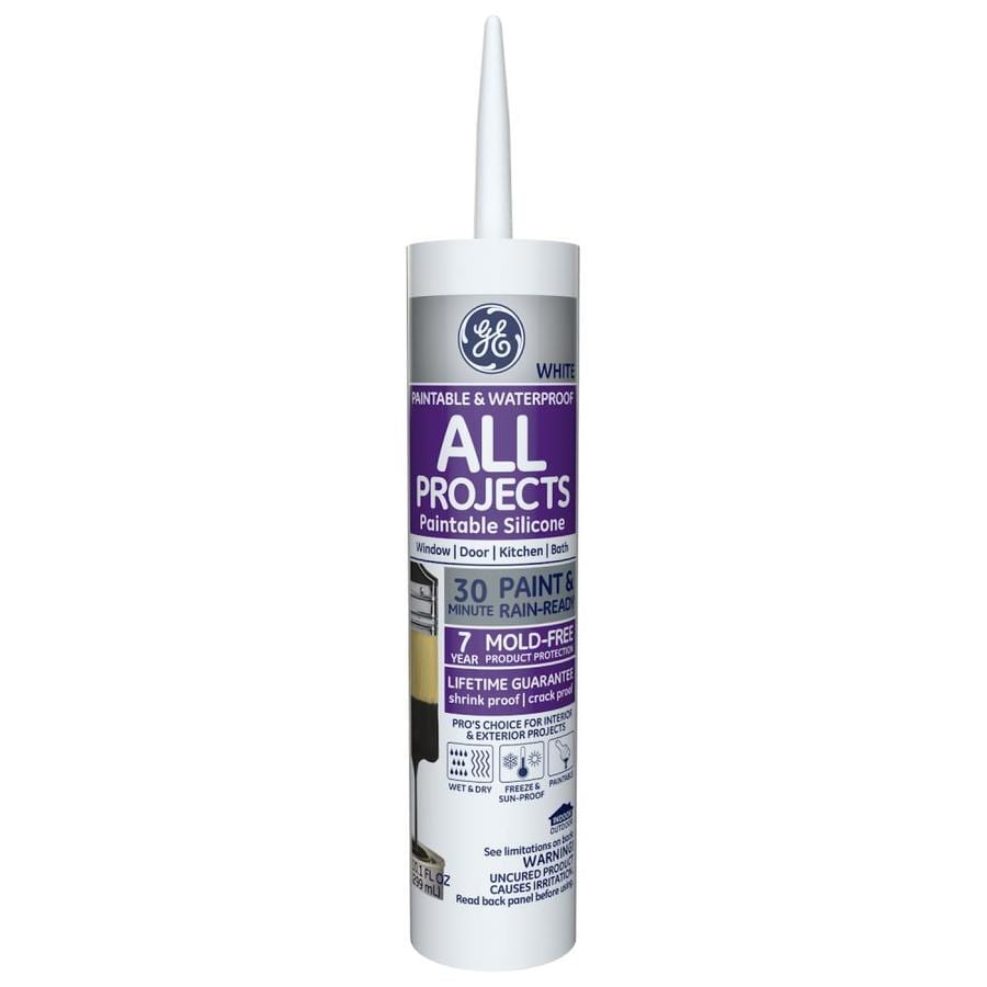 GE 10.1-oz White Paintable Silicone Window and Door Caulk
