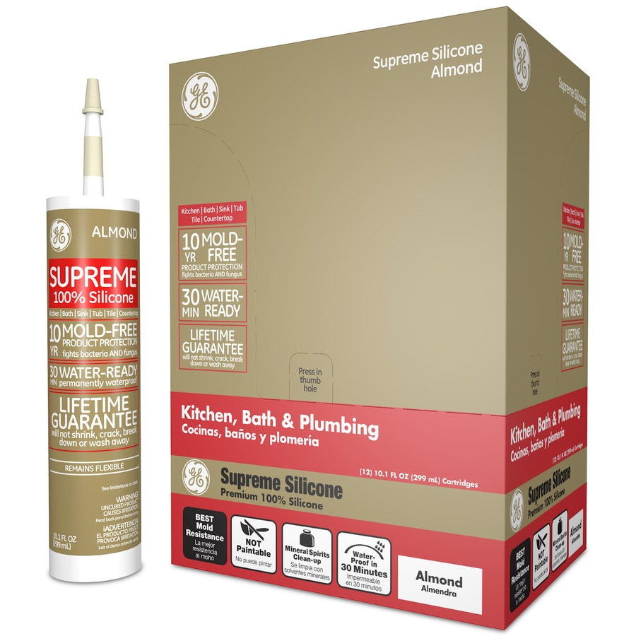 GE Silicone II Supreme 121.2-oz Almond Silicone Kitchen and Bathroom Caulk