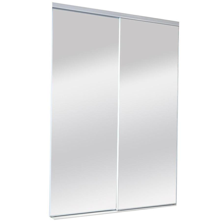 ReliaBilt Mirror Panel Sliding Closet Interior Door (Common: 60-in x 80-in; Actual: 60-in x 80-in)